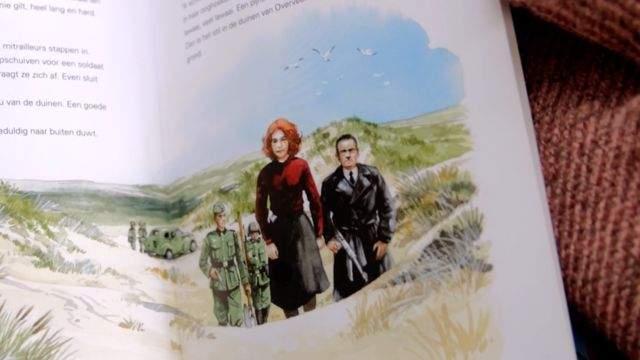 Ilustración de Hannie Schaft en un libro
